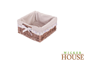 Lined Brown Wicker Basket