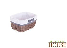 Lined Brown Wicker Basket