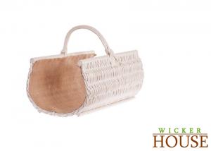 White Wicker Log Basket