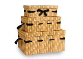 Set Of 3 Rectangular Wicker Effect Cardboard Hampers
