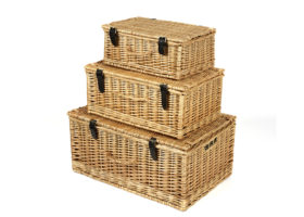 Set Of 3 Wicker Hampers