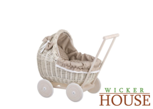 WHITE WASH WICKER DOLL CARRIER, HANDCRAFTED DOLL PRAM,