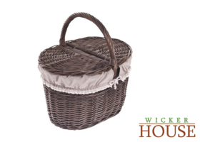 SHABBY CHIC WICKER PICNIC BASKET LINED